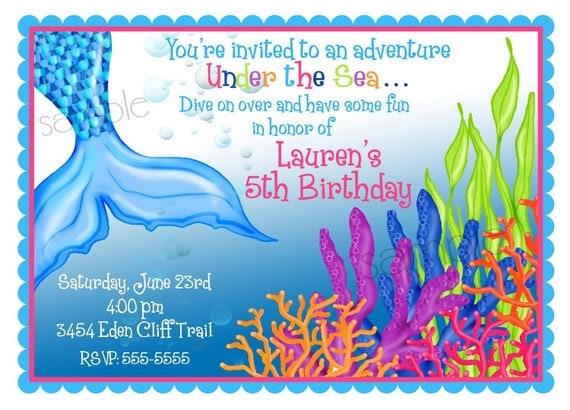 Mermaid Birthday Invitations, Mermaid birthday party, Under the Sea invitations, Ocean birthday ...