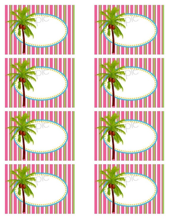 Printable Large Stickers, diy,Luau, Hawaiian,  Palm tree,Tropical, Beach, favor labels