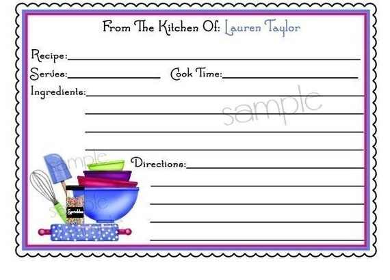 Personalized Recipe Cards, Littlebeane Mixing Bowls BRIGHT ...