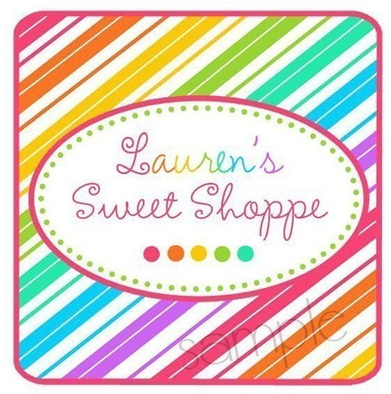 Sweet Candy stripes Stickers, Sweet shoppe, Candy Stripes, Sweet, Treat, Candy, Favor Stickers, Birthday, Labels, Set of 20 Glossy Stickers