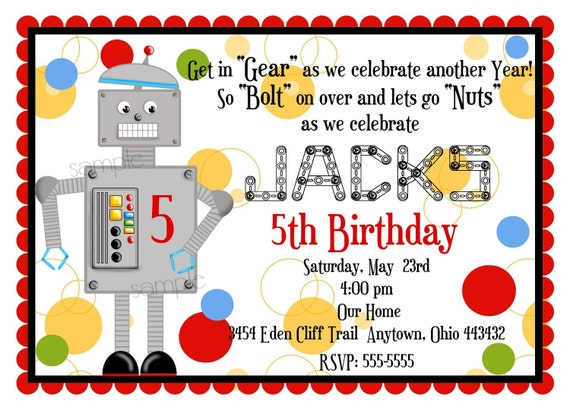 Robot Birthday Party Invitations, Robot Invitations, Robot invites, Birthday  Party, Party, Children, Kids, Boys
