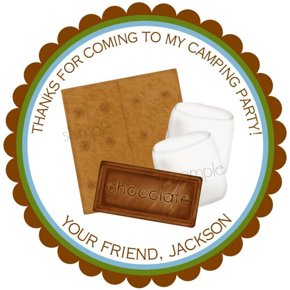Smores Stickers, Smores, Camping, Personalized, Cookout, Campfire, Chocolate, Marshmello, Graham Cracker, birthday, party, favor, set of  12