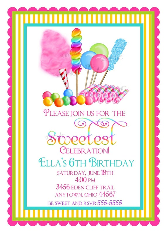 Candy Invitations, Sweet Shop Birthday party invitations, Candy Circus, Sweet Shoppe,  BIrthday, Children, Girls