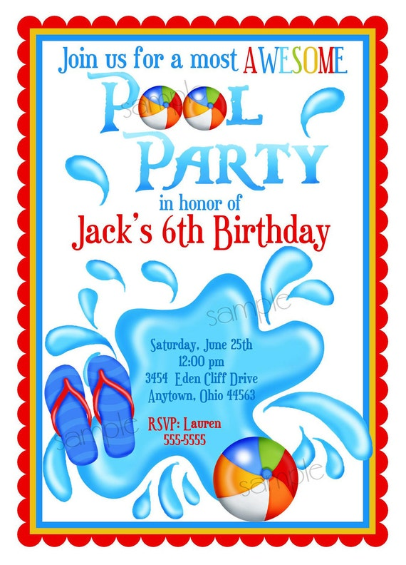 Pool Party Invitations Personalized Invitations Boys – Boy Party Invitations