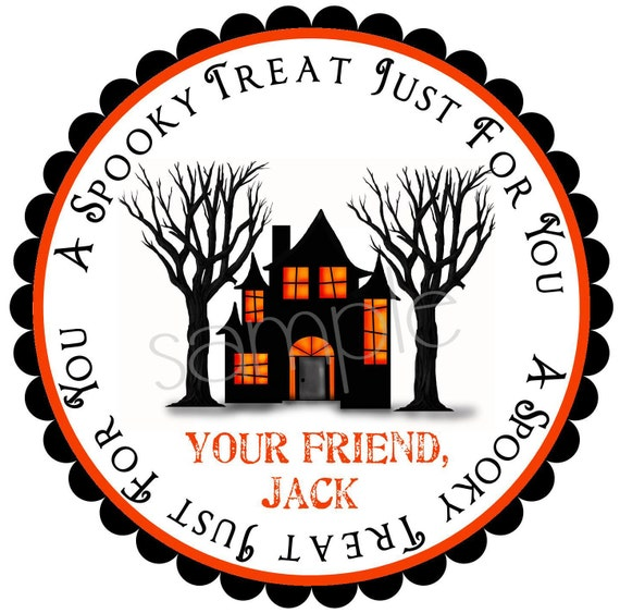 Halloween  Stickers, Haunted House, Personalized, Treats, Trick or Treat,  Kids, Children, Favor, labels, set of 12