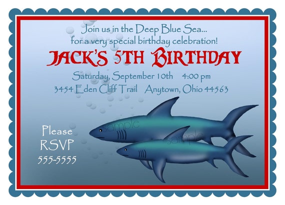 Shark invitations Shark Birthday Party Invitations Sharks In