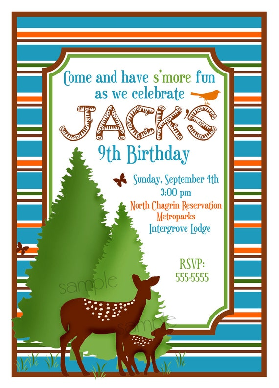 items similar to camping invitations, camping birthday party, Birthday invitations