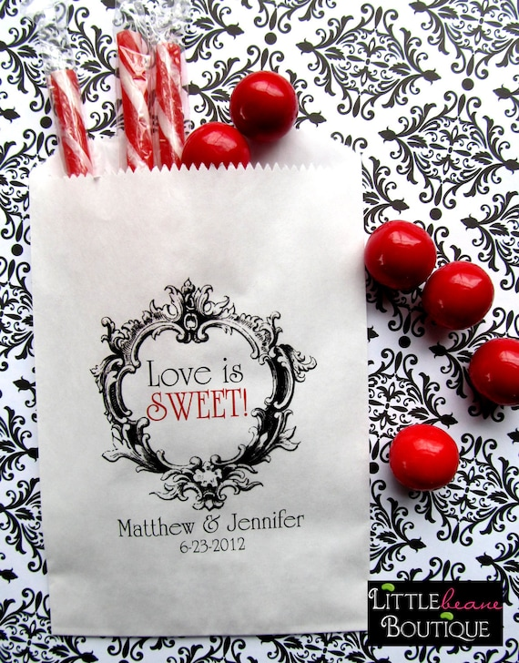 Personalized Candy Bags, Love is Sweet, Favor bags, Candy Buffet, Wedding, Bridal Shower,CUSTOM COLOR