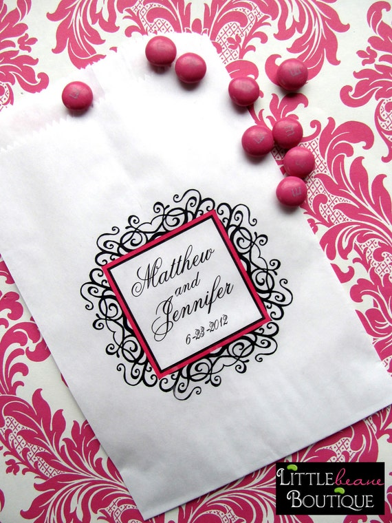 Personalized  Wedding Candy Bags,  Formal Flourish Design,  WeddingFavor bags, Candy Buffet bags, Wedding,Bridal Shower favors,CUSTOM COLOR
