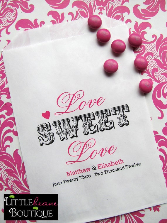 Wedding Candy favor Bags, Love Sweet Love favor bags, Bridal Shower ...
