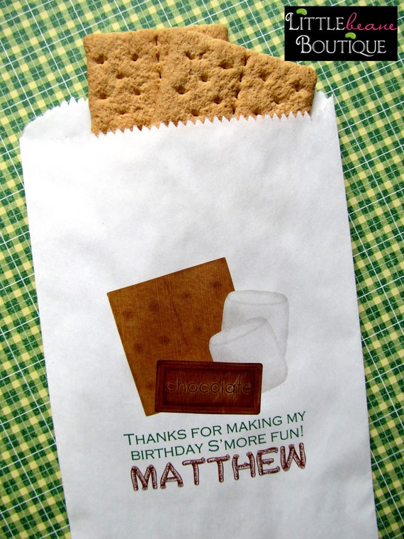 Classroom Birthday Party Favors ~ Camping birthday party smores favor bags favors