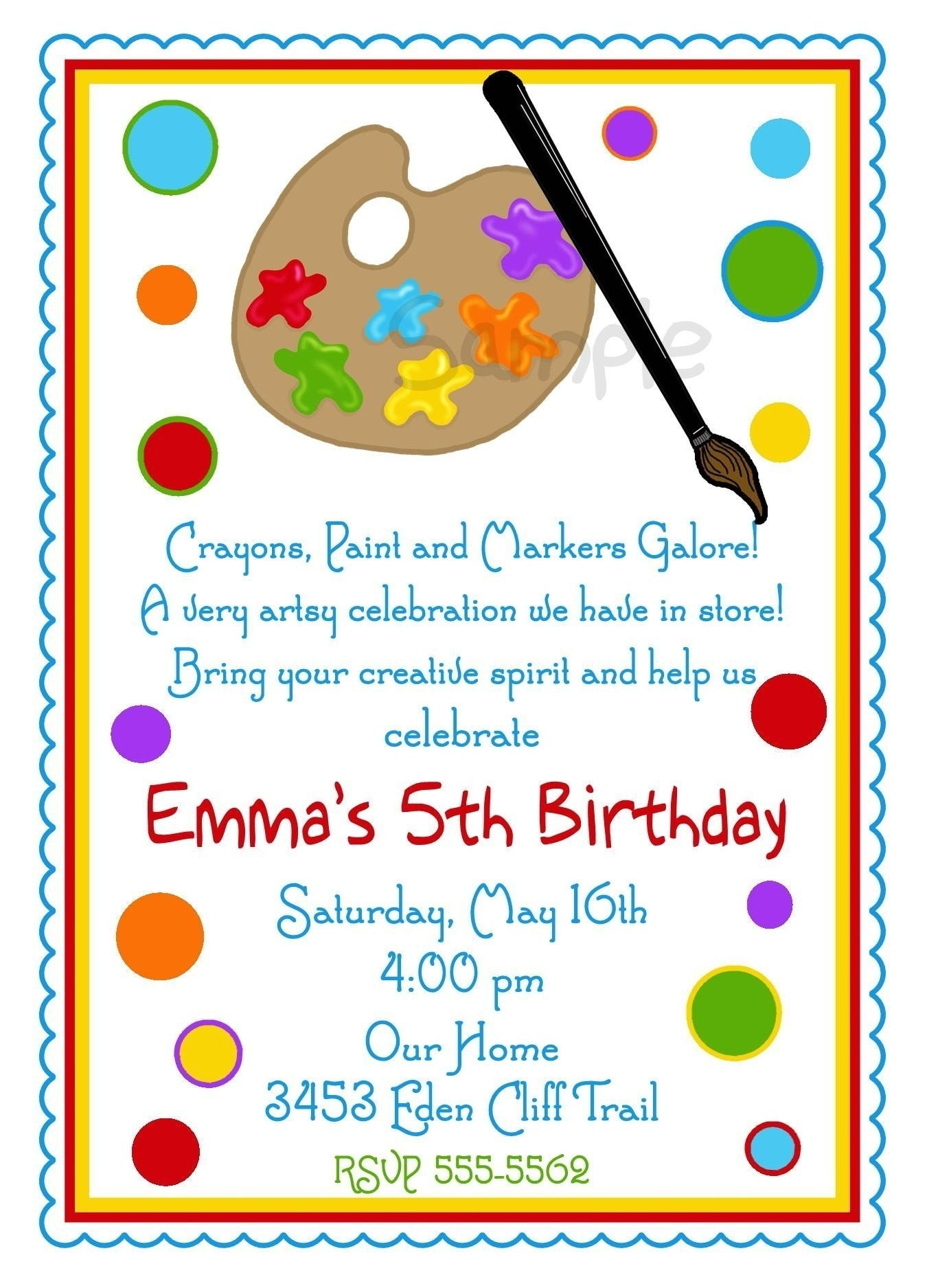art invitations art party painting birthday party paint, Birthday invitations