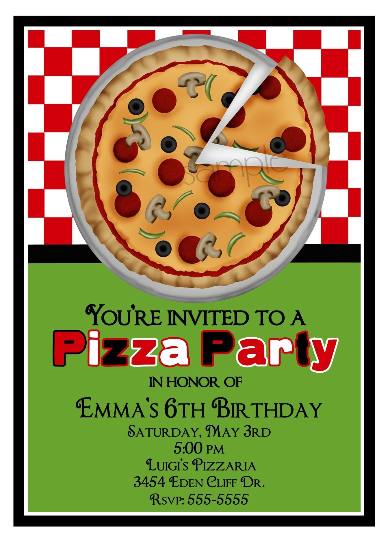 pizza party invitations pizza invites pizza by littlebeaneboutique, Party invitations