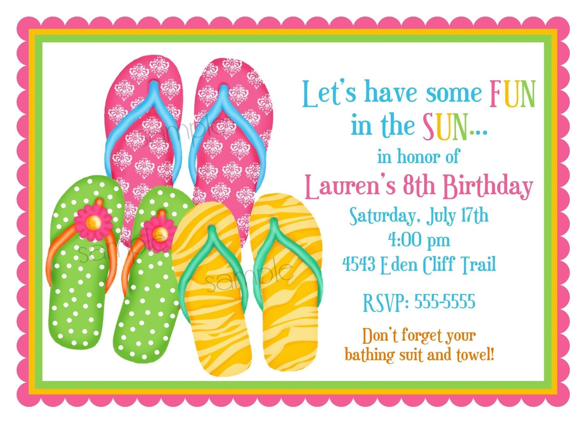 personalized invitations flip flops summer by littlebeaneboutique