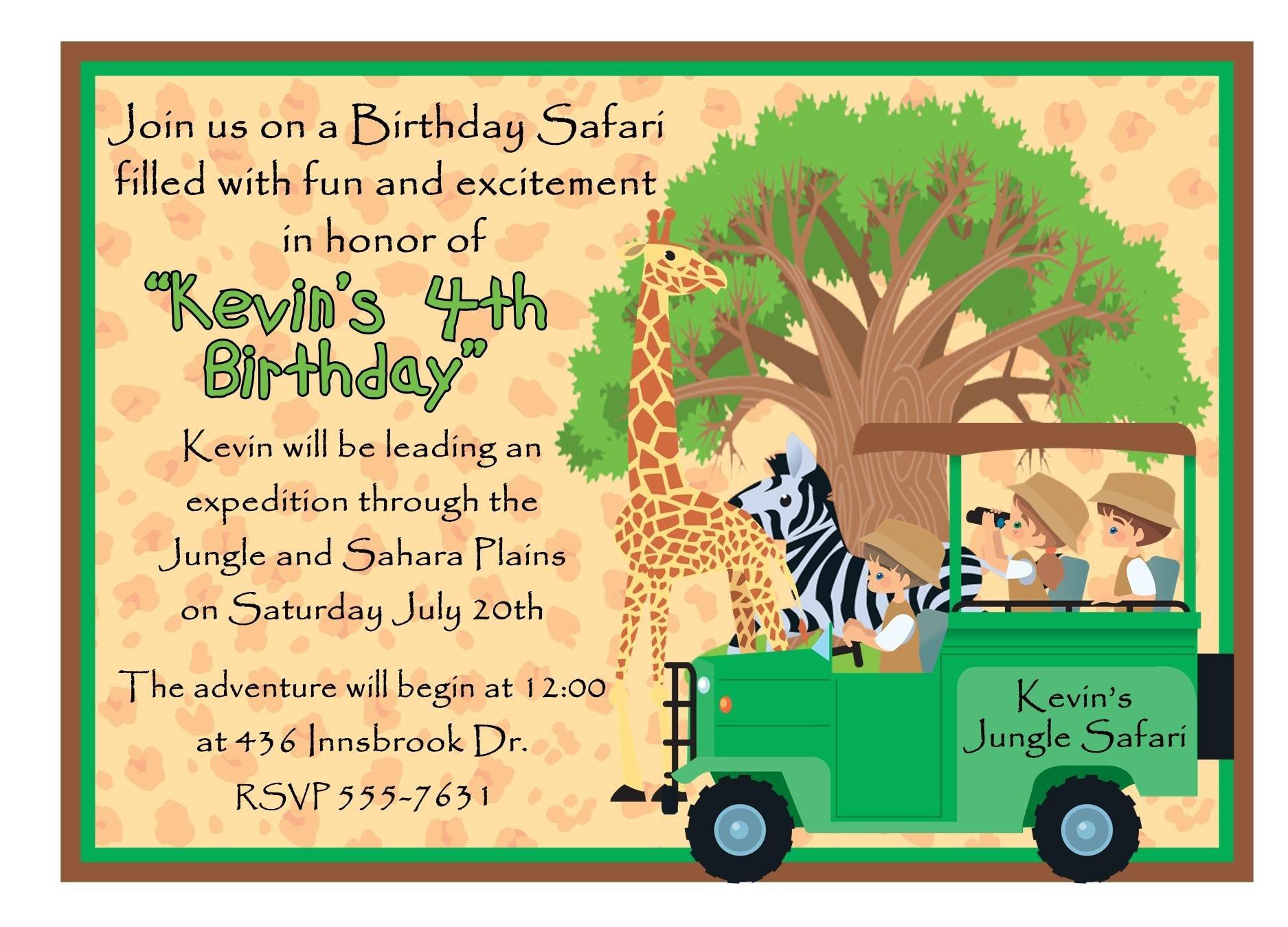 Personalized Birthday Invitations Jungle Safari Giraffe