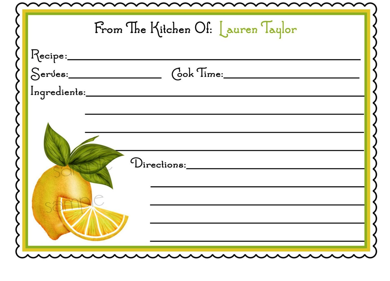 Personalized Recipe Cards Sweet Lemons by LittlebeaneBoutique