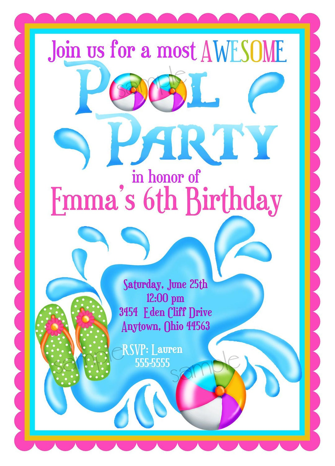 Pool Party Invitations Personalized