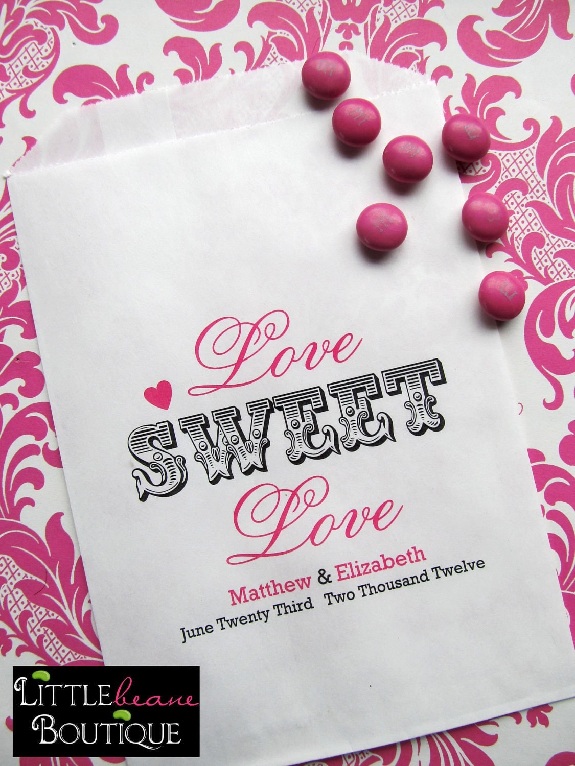 wedding candy bags love sweet love favor by littlebeaneboutique