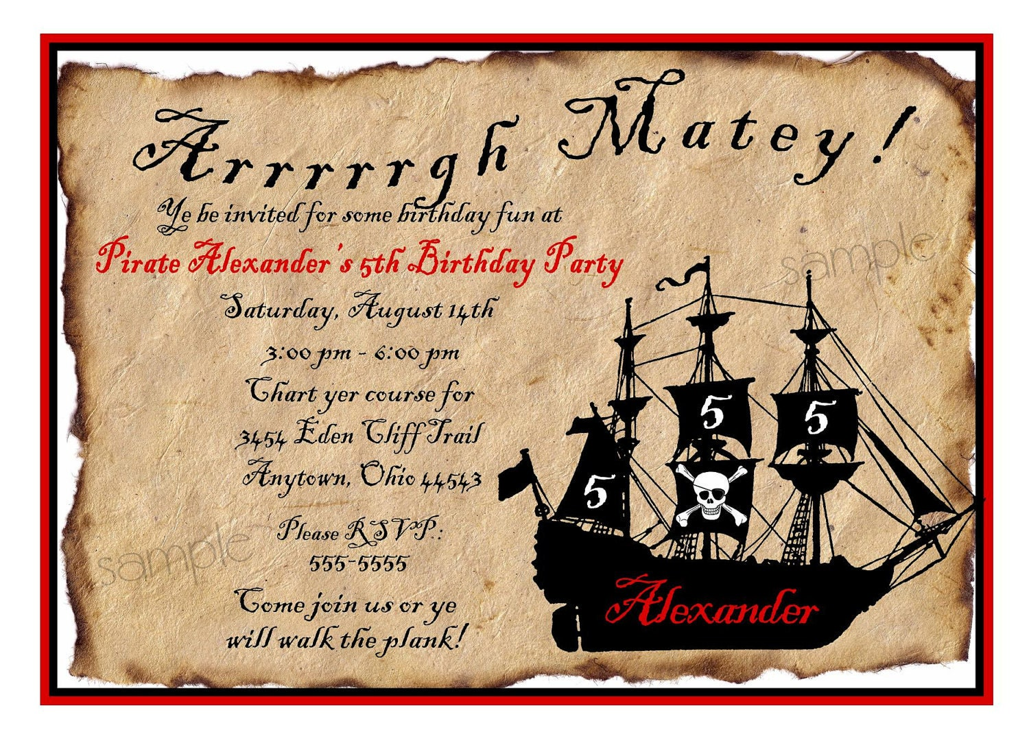 Pirate Invitations Pirate Ship Birthday Party Invitations – Pirate Party Invite