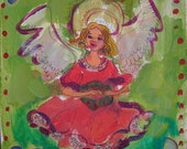 Angel with Wreath Painting