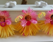 Mellow Yellow and Pink Flower Girl Ornies All 3