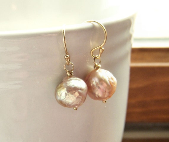 Peach Mocha Nucleated Kasumi Like Wrinkle Pearl 14k Gold Filled Minimalist Dangles