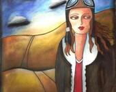 Female Aviator Girl Art Print, 8 x 10, 5 x 6.5, Aviation Art, Original Art Print, Amelia Earhart, Watercolor Mixed Media, Blue Brown