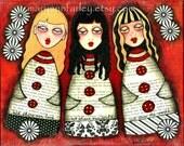 Art Print, 8 x 10, Inspirational Motivational Whimsical Art Girls Illustration, Spiritual Mixed Media Print, Red Yellow Black