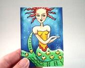 Mermaid Art Print, Whimsical Original Art Print, ACEO ATC Art Print, Artist Trading Card, Illustration Art, Blue