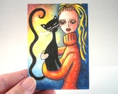 Cat Art Print, Black Cat and Girl Art Print ACEO ATC Art Print, Whimsical Artist Trading Card, Watercolor Orange Black