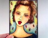 Small Art Print, Asian Female ACEO, Girl Art Print ATC Giclee Art Print, Whimsical Watercolor Illustration, Artist Trading Card, Pink Green