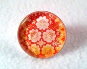 Flowers Art Ring, Silver Ring, Silver Jewelry, Adjustable Cocktail Ring, Original Art Print, Orange White