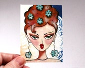 Artist Trading Card, Girl Art Print, Whimsical ACEO ATC, Giclee Art Print, Original Art Print Watercolor Beehive Mod Girl, Brown Pink