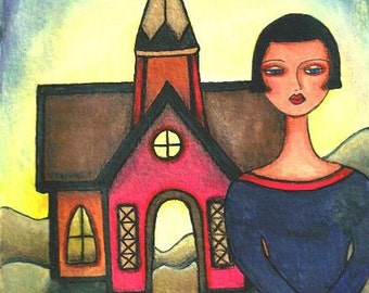 Americana Art Print, Church and Girl, Inspirational Whimsical Spiritual Illustration, Religious, Watercolor Original 5 x 7, Red Blue