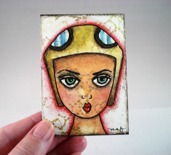Female Aviator ACEO ATC Artist Trading Card, Whimsical Original Art Print, Girl Art, Giclee Art Print, Aviation, Illustration Brown Tan