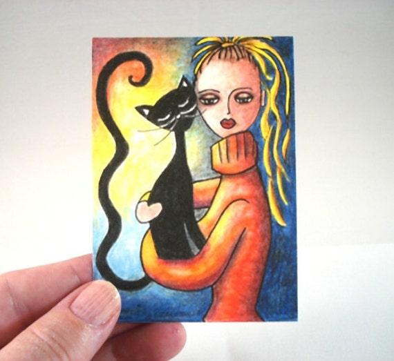Cat Art Print, Black Cat and Girl Art Print ACEO ATC Art Print, Whimsical Artist Trading Card, Watercolor Orange Black