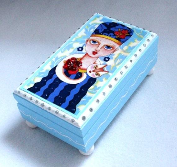 Jewelry Box, Cat Art Wood Box, Home Decor, Girl Art Trinket Box OOAK Ring Box Earring Holder, Original Art Print Blue, Girl Teen Woman Gift