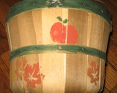 Pumpkins and Leaves Basket with Green Stripes