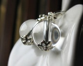 Crystal Ball Rock Crystal Gemstone Round Dangle Earrings Ice Frost