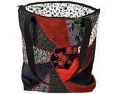 Red and black crazy quilt tote bag