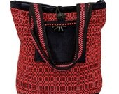 Red and Black handwoven tote bag