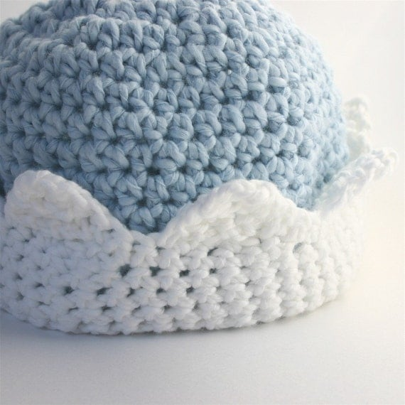 Cotton Baby Hat -  Little King in Light Blue and White