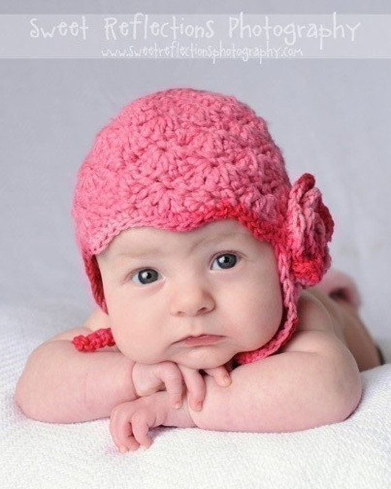 RESERVED - Cotton Crochet Baby Hat -  Raspberry Bonnet for Mary