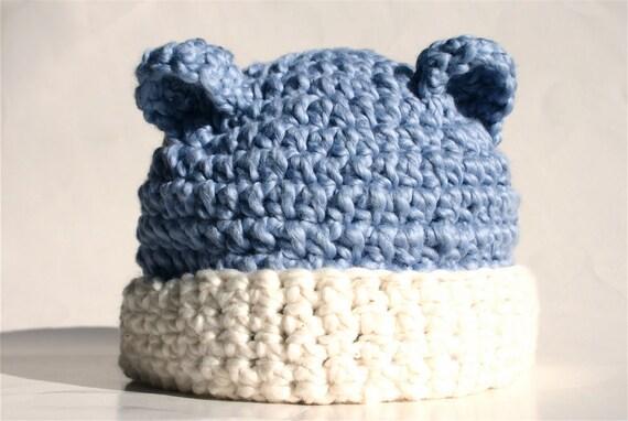 Organic Cotton Crochet Baby Hat - Blueberry Bear