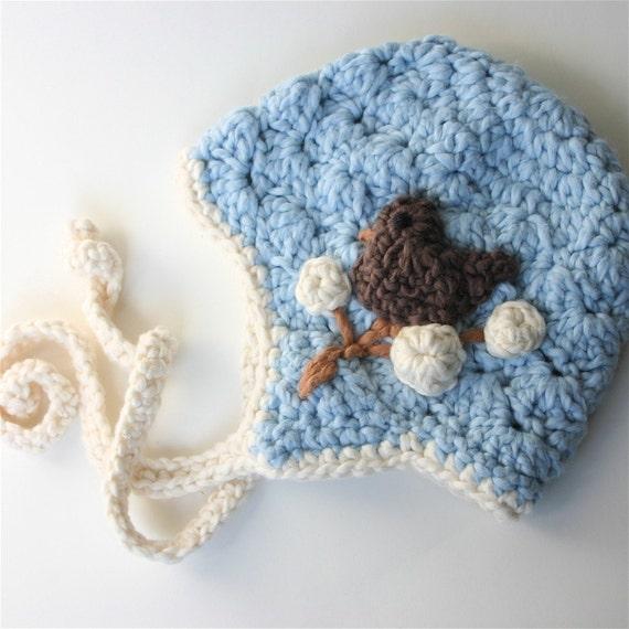 Organic Cotton Baby Hat -  Blue Finchy Bonnet