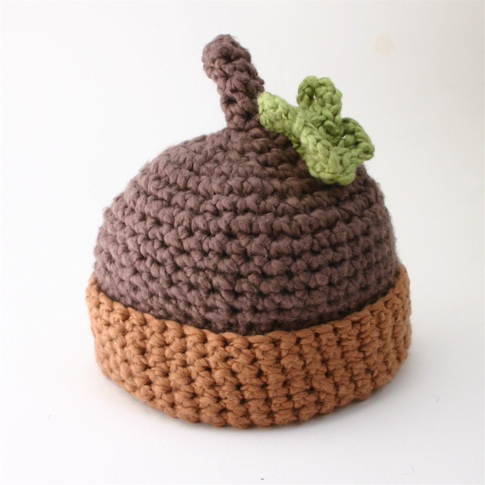 Handmade Organic Cotton Baby Hat Dark Acorn With Leaf