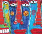 Tracey Ann Finley Limited Edition ACEO Print Raw Brut Three Happy Faces