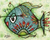 Fish Art Print - Milton The Fish - VERY Limited Edition Childrens Print - Bathroom Art