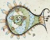 Lost at Sea... no.2 - ACEO mini fish art print