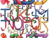ABC - Limited Edition Alphabet 8.5x11 fine art print for childrens bedrooms or the classroom